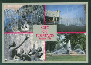 CITY OF FOUNTAINS Kansas City MISSOURI MO Continental Postcard