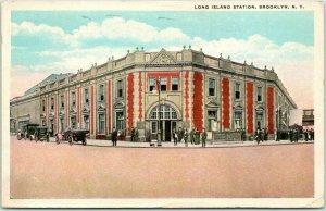 1916 BROOKLYN, New York Postcard LONG ISLAND STATION Depot, Street View