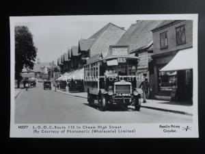 Omnibus L.G.O.C. ROUTE 113 IN CHEAM HIGH STREET Pamlin Print Postcard M2377