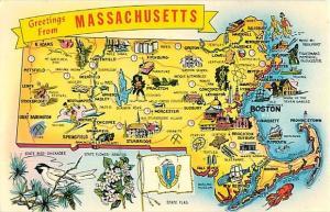Greetings from Massachusetts Map Card Pre-zip Code Chrome