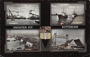 Netherlands Groeten uit Rotterdam, Havengezicht, Konigshaven, Ships, Bridge 1957