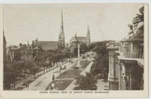 Milwaukee WI Grand Avenue 8 St Postcard c1910 trolley
