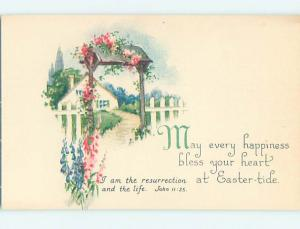 Pre-Linen easter PINK FLOWERS DECORATE GATEWAY ARCH AT PICKET FENCE hr2659-12