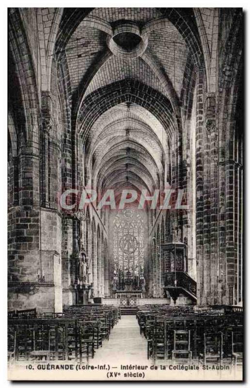 Old Postcard Guerande Interior of the collegiate Saint Aubin