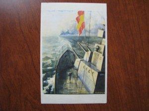 Spain Spanish Civil War Postcard Battleship Gibraltar Cesar Hombrados Onativia