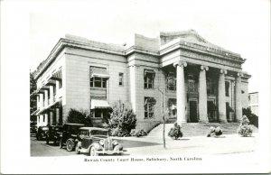 Vtg RPPC 1930s Kodak Street View w Cars Rowan County Court House Salisbury NC
