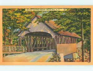 Unused Linen WHITE MOUNTAINS COVERED BRIDGE Franconia Notch NH t8623