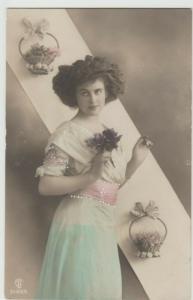Eerbeek, Netherlands PRETTY WOMAN FLOWERS RPPC Postcard 1910
