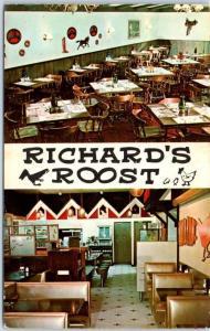 Rochester, Minnesota Postcard RICHARD'S ROOST Restaurant 2 Interior View c1960s