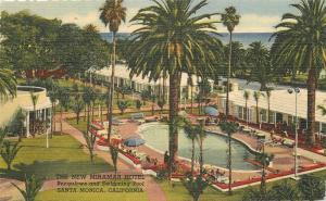 Miramar Hotel Swimming Pool Santa Monica California 1940s Postcard Linen 13332