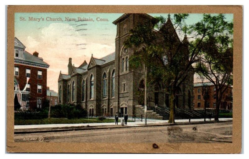 1910 St. Mary's Church, New Britain, CT Postcard