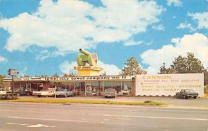 Southern Pines North Carolina~Towel City Company #12~Cannon on Roof~1960s Cars