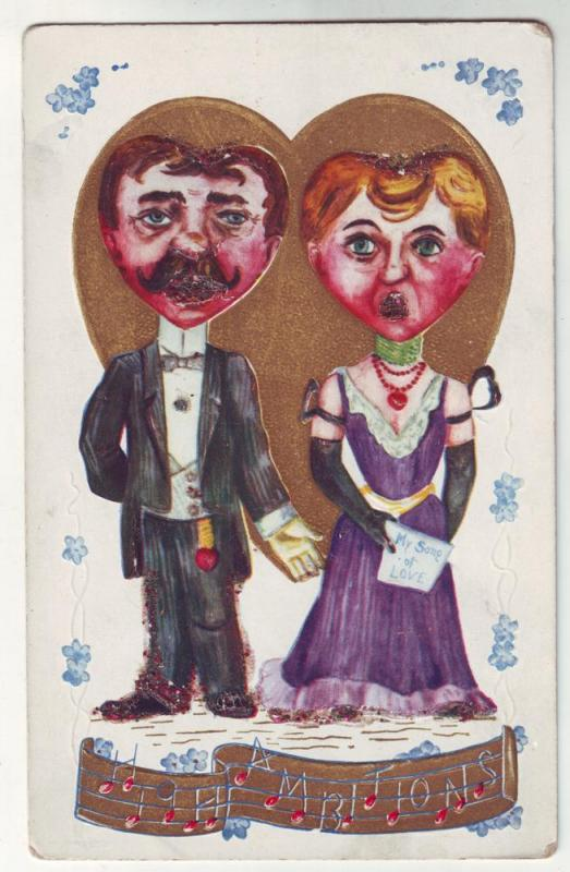 P121 JL antique postcard comic couple music glitter embossed