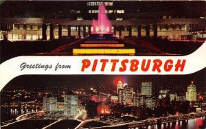Pittsburgh Pennsylvania~Night Views~Airport Fountain~Skyline @ Mt Washington~'63