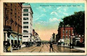 Vtg Tarjeta Postal 1922 South Doblar En Indiana Washington Calle Aspecto East