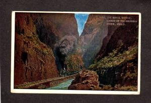 CO Royal Gorge Arkansas River Colorado Postcard Train Railroad Steam Locomotive