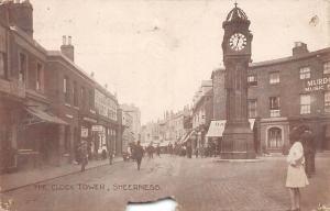 Sheerness, The Clock Tower, Horloge, Orlogio, animated, commerce 1920