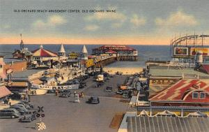 Orchard Beach Amusement Center, Old Orchard, ME, Early Linen Postcard, Unused