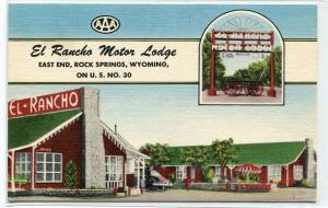 El Rancho Motor Lodge US 30 Rock Springs Wyoming Roadside America postcard