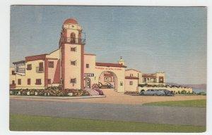 P2008, vintage postcard old cars mission santa isabel ensenda baja calif mexico