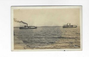 Vtg 1904-1918 RPPC AZO Off The Dock, Michigan - Boats Postcard