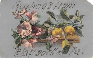 C23/ Claysville Pennsylvania Pa Greetings from Postcard c1910 20