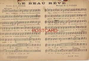 Postcard No. 56 - LE BEAU REVE - PAROLES de E. DUCROS, MUSIQUE de A. FLEGIER