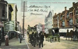 canada, VANCOUVER B.C., Granville Street Looking North (1908) Horse Cart