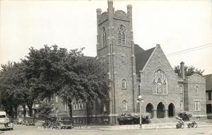 Webster City Iowa~Motorcycles, Antique Cars @ Methodist Church RPPC 1930s