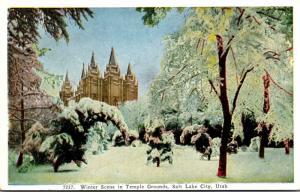 Utah Salt Lake City Winter Scene In Temple Grounds