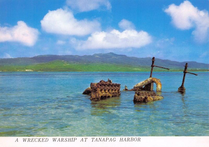 Postcard A Wrecked Warship at Tanapag Harbor Harbour Northern Mariana Islands #T