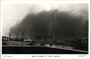 Port Sudan Sand Storm Natural Weather Event Real Photo Postcard