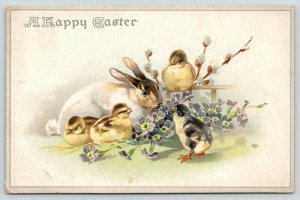Easter~White Rabbit Munches Purple Flowers~Chicks & Pussy Willows~Emboss~Germany
