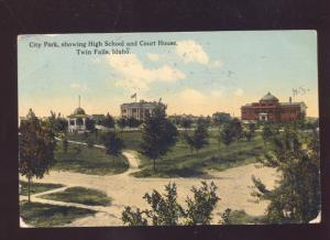 TWIN FALLS IDAHO CITY PARK HIGH SCHOOL COURT HOUSE VINTAGE POSTCARD