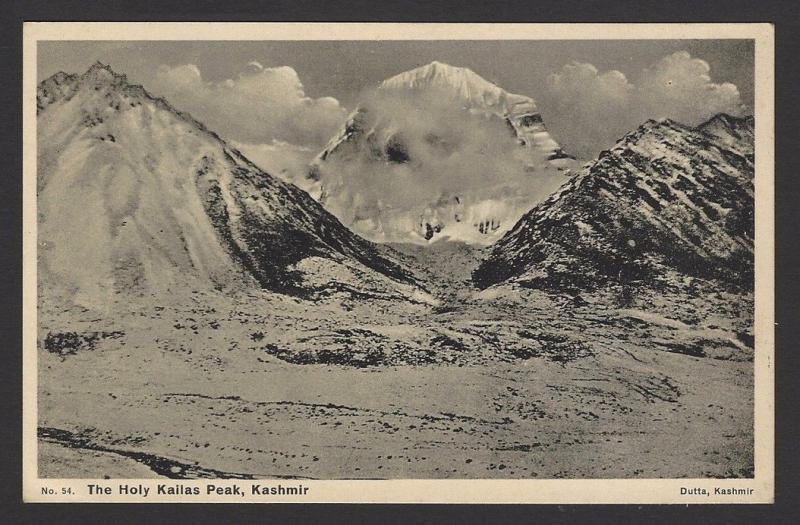THE HOLY KAILAS PEAK, Kashmir, India vintage postcard