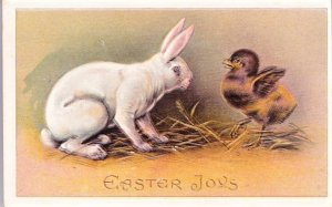 Easter PC showing a white Easter bunny looking at a little chick. Embossed.