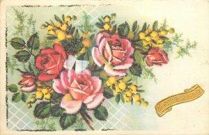 Postcard Greetings Flowers multi color