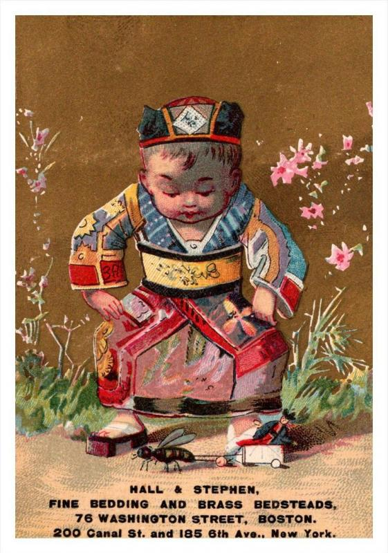 13403   Trade Card MA Boston  Hall & Stephen Fine bedding, Chinese Child ...