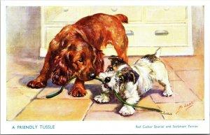 DOGS : A Friendly Tussle - MABEL GEAR - SALMON - VINTAGE - POSTCARD