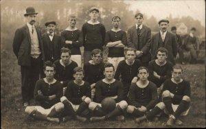 Soccer Football Team c1910 Real Photo Postcard American AZO Unidentified
