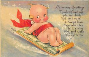 Rose O' Neill Christmas Kewpie Snow Sled Poem Postcard