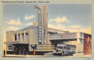 Toledo Ohio Greyhound Bus Terminal Street View Antique Postcard K58168
