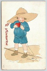 Valentine~Boy Uses Heart For Bait~Fishing Pole~TUCK Blue Belle~1913 Postcard