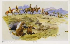 Dudes Charles M. Russell Cowboy Artist CM Trails End Unused Postcard D28