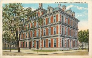 Parkersburg West Virginia~U S Post Office~Houses Each Side~1920s Postcard
