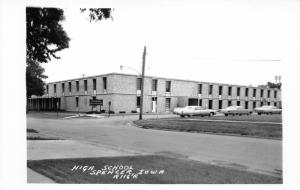 Spencer Iowa~High School Building~Classic Cars Parked in Front~1950s RPPC