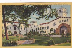 California Santa Barbara Inner Court County Court House 1948 Curteich