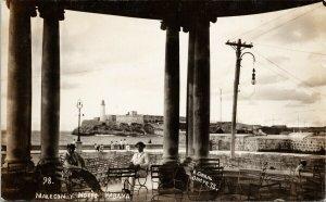Havana Cuba Malecon Y Morro Habana R. Corral Unused RPPC Postcard G4