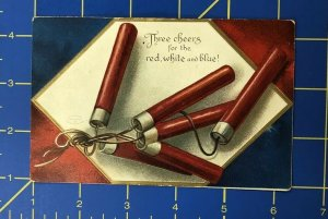 Vintage Red White & Blue Fire Crackers Patriotic Post Card P2