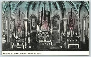 Iowa City Iowa~St Mary's Catholic Church Interior~Vaulted Ceilings~1910 Postcard